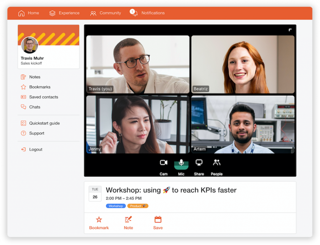 video conference with 4 people in a virtual event