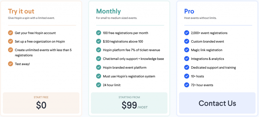 Pricing for Hopin virtual events