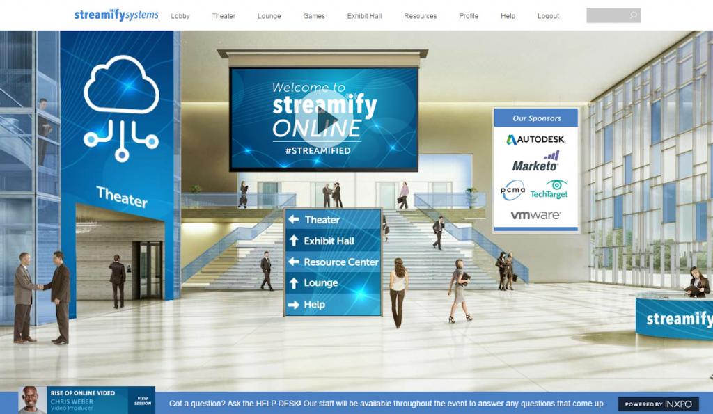 Screenshot of INXPO/Intrado virtual conference lobby