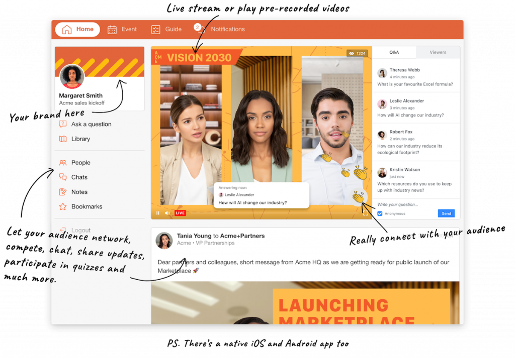 SpotMe is a great ON24 alternative that is praised for it engagement features.