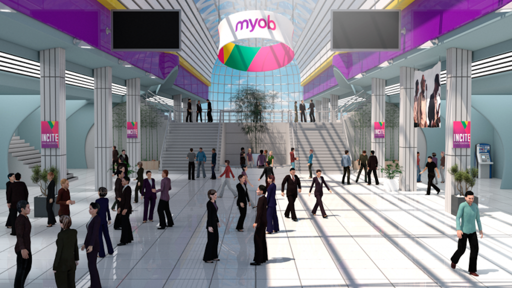 Screenshot of vFairs virtual conference 3D lobby