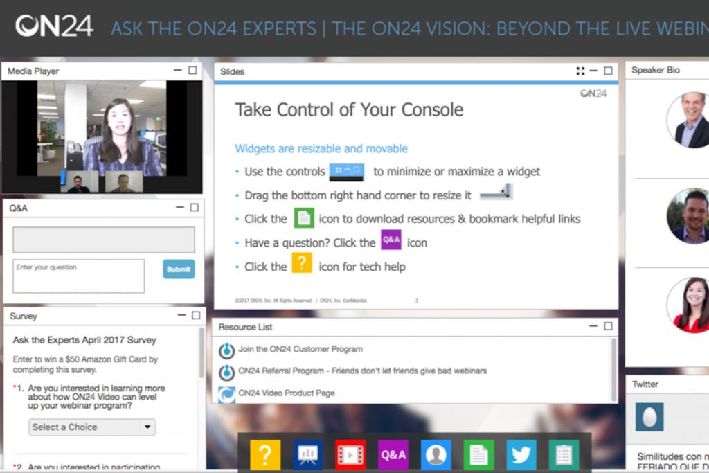ON24 live webinar session in presenter mode.