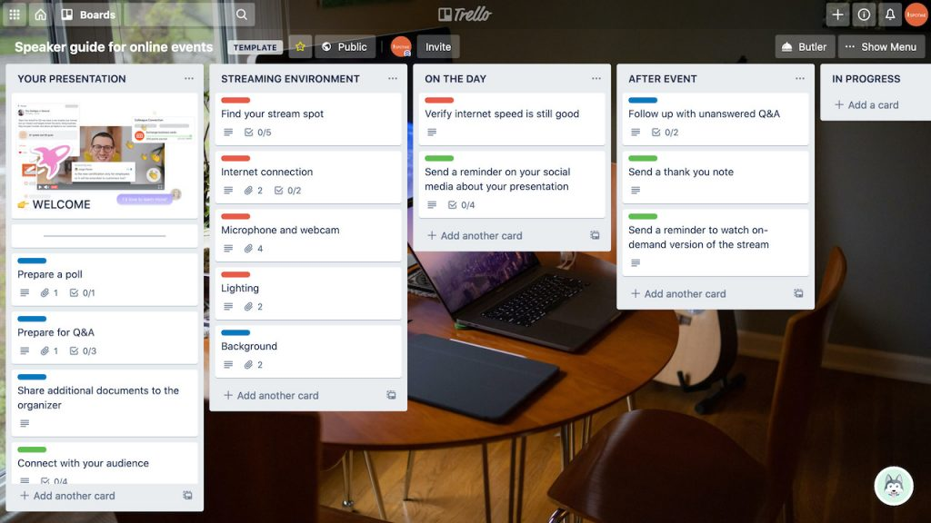 Trello board with a checklist for preparing for virtual events